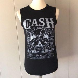 ZION Johnny CASH Sleeveless T-Shirt Top sz XS